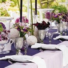 purple and silver tablescape