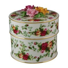 Royal Albert Old Country Roses Round Floral Musical Basket