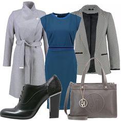 Tubino con lunghezza gonna sotto il ginocchio blue e blazer a righe. Cappotto classico grigio con cinturone a collo alto. Francesina nera con tacco quadrato e borsa a mano grigia.