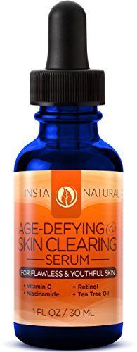 InstaNatural Vitamin C Skin Clearing Serum - Anti Aging Formula with Retinol & Hyaluronic Acid - Natural & Organic Wrinkle, Dark Spot, Fine Line & Hyperpigmentation Defying Facial Product - 1 OZ *** You can find more details by visiting the image link.