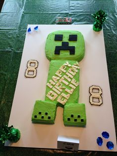 Made this Minecraft Creeper cake for my daughters 8th b-day.
