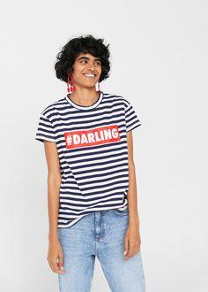 Camiseta algodón mensaje - Camisetas y tops de Mujer | MANGO España