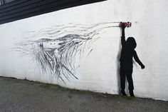 Drift (Tribute to Edvard Munch) by Pejac, Stavanger, Norway| 2015. From miniature window drawings, striking site-specific interventions to elaborate replicas of classic masterpieces, Pejac is rightfully recruiting an army of fans and collectors with every new piece he makes. Taking clever twists on familiar images and skillfully reinventing the public space, Barcelona-based artist is touching sensitive social and environmental issues. http://www.pejac.es…
