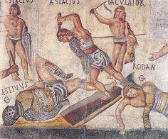 Mosaïque romaine. Gladiateurs.