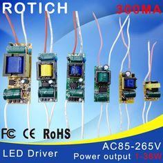 1-3 와트, 4-7 와트, 8-12 와트, 15-18 와트, 20-24 와트, 25-36 와트 LED 드라이버 전원 공급 내장 정전류 조명 85-265 볼트 출력 300mA 변압기