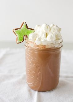 Hot chocolate with marshmallow-spiked whipped cream