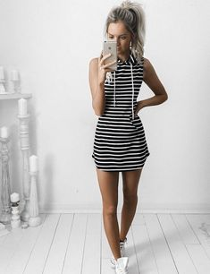 Keep it simple with this Sheath Hooded Stripped Dress, it can be paired with so many items for different looks - 14% discount in store today. | 10 Genius Ways for Making Your Clothes look Designer Expensive