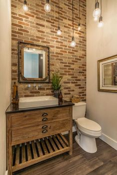 Amazing Exposed Brick Bathroom Ideas You Must See – Modern rustic bathroom styles showing amazing viewpoint of brick wall decoration Image 35 Rustic Bathroom Decor, Rustic Bathrooms, Bathroom Styling, Bathroom Interior, Bathroom Ideas, Modern Bathroom, Bathroom Renovations, Budget Bathroom, Decorating Bathrooms