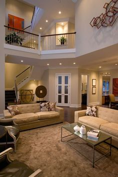 I like: the color of the walls, white trim, being able to see the upstairs hallway from downstairs, and the winding staircase! Love the open floor plan Future House, Apartment Floor Plans, Basement Apartment, Apartment Therapy, House Goals, Design Case, Architecture, Great Rooms, Home And Living