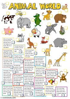 The animals interactive and downloadable worksheet. You can do the exercises online or download the worksheet as pdf.