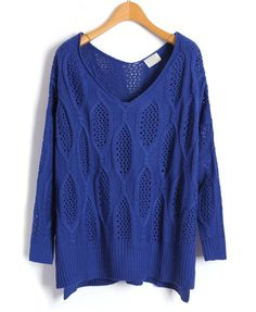 Batwing Sleeves Diamond Kintted Sweaters in Blue