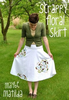 Skirt with fabric scrap applique