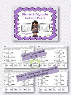 $1 Blend and Digraphs cut and paste!