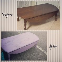 Chalk paint distressed purple coffee table.  See more at 416redesign.blogspot.com