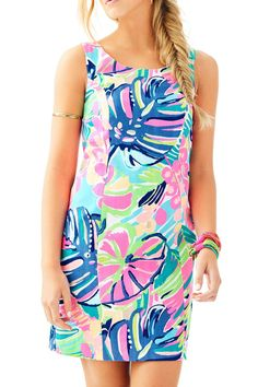 "The Cathy Shift is an easy shift dress with a scoop back and grosgrain details around the back zip. It's great for shopping, parties, and everything in between. •Shift Dress With A Scoop Back And Grosgrain Details Around Center Back Zipper.    Measurements: 9.5"" From Natural Waist To Hem.   Cathy Shift Shift by Lilly Pulitzer. Clothing - Dresses Sandestin Golf and Beach Resort, Florida"