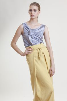 Two in a gondola SS14 collection, Jersey light blue top gathered on the shoulder and Cupro Yellow folded maxi skirtt
