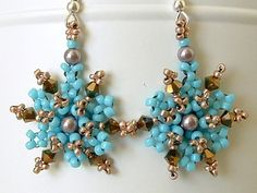 Lacy Beaded Snowflake Dangle Earrings in Turquoise Pink
