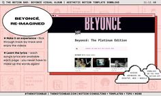 Navigate track-to-track while watching each video + singing along with the lyrics This is an unofficial project done in appreciation of Beyoncé! Keep the content or switch it out for your favourite album! Song Lyrics, Beyonce, Singing, Album, Templates, Let It Be, Songs, Tips, Layouts