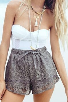 Solid Color Lace Drawstring Shorts