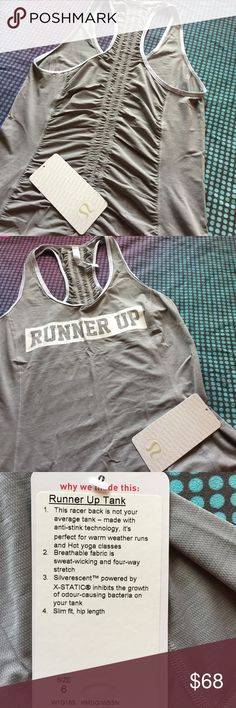 NWT Lululemon Runner Up Tank 6 silver spoon Racer back Tank with beautiful ruching on the back. Features anti-stink silverescent technology. Great for warm weather runs and hot yoga. Slim fit, hip length. Color code: heathered medium grey/wee stripe white silver spoon. New with all tags attached intact. lululemon athletica Tops Tank Tops