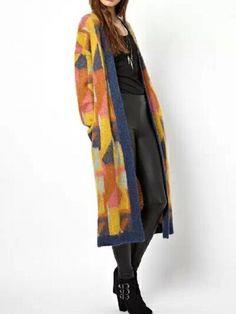 Yellow Argyle Contrast Color Long Sleeve Coat