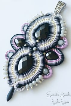 Black / Pink / Ivory / Grey Soutache pendant with onyx teardrops, onix beads, glass crystal beads, firepolish beads, Toho
