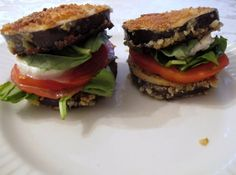 My new favorite sandwich - fried eggplant in place of bread. Great recipe but make sure you use fresh basil instead of any other lettuce type green. Local friends head to the Brookwood restaurant in Brookshire and order their Oh My Gosh sandwich. Coconut Cream, Coconut Flour, Great Recipes, Healthy Recipes, Healthy Foods, Eggplant Sandwich, Types Of Lettuce, Sliced Tomato, Almond Recipes