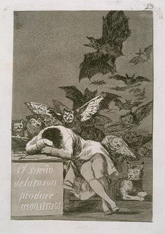 Goya (Spanish, 1746–1828). The Sleep of Reason Produces Monsters: Plate 43 of The Caprices (Los Caprichos), 1799. The Metropolitan Museum of Art, New York. Gift of M. Knoedler  Co., 1918 (18.64) #Halloween