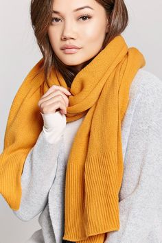 Product Name:Ribbed-Trim Oblong Scarf, Category:ACC, Price:12.9