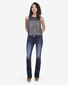 dark mid rise barely boot jean from EXPRESS
