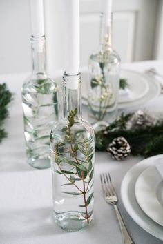 DIY Christmas table You are in the right place about decoration table bapteme Here we offer you the Christmas Table Decorations, Diy Christmas Gifts, Wedding Decorations, Wedding Table, Diy Wedding, Wedding Day, Reuse Bottles, Event Decor, Table Settings