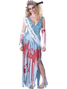 Drop Dead Prom Queen Ladies Halloween Costume - Calgary, Alberta. This would be a hit an (undead) Halloween or costume party. Wear it to a zombie walk or other horror-themed events.  This is a gory Drop Dead Gorgeous prom queen costume. This Carrie-like undead prom queen costume is perfect for Halloween.  This five-piece undead zombie costume  comes with a dress, underbust corset belt, gloves, sash and headpiece. The dress has a blue sequin top with a crushed velvet skirt.