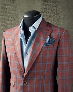 SOFT RED Take a look at this phenomenal KING & BAY Soft Red Check Sport Jacket. With its sky blue check and unlined construction, this… Dapper Gentleman, Gentleman Style, Sharp Dressed Man, Well Dressed Men, Mens Fashion Suits, Mens Suits, Stylish Men, Men Casual, Costume