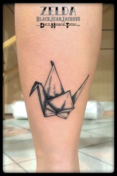 #origami #crane #etching #tattoo done by #ZeldaBlackJeanjacques