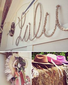 Cowgirl birthday party with name written in rope and cowboy hats for your guests