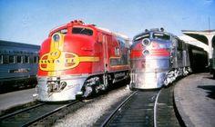 "qstation: "" E units in Dallas, Texas, 1950s A Santa Fe E6 and a Chicago…"