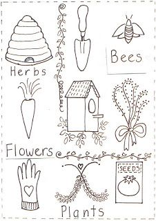 Down to Earth: Stitchery patterns--  love the bee
