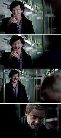 Benedict Cumberbatch as Sherlock and Martin Freeman as John Watson Sherlock Holmes, Sherlock Fandom, Sherlock John, Jim Moriarty, Sherlock Quotes, Watson Sherlock, Sherlock Humor, Sherlock Cast, Sherlock Series