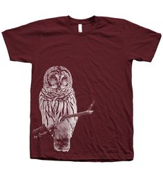 Men OWL T shirt Unisex Hand Screen Print American by Couthclothing