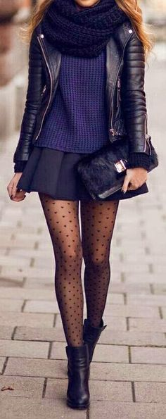 Get this preppy look by pairing your dark blue skirt with a navy knit top. Pair your favorite black leather jacket with a dark navy knit scarf. Top it off with black polka dot tights!