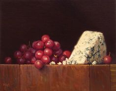 "Daily Paintworks - ""Still Life with Grapes and Bleu Cheese (larger painting)"" - Original Fine Art for Sale - © Abbey Ryan Realistic Paintings, Original Paintings, Oil Paintings, Grapes And Cheese, Oil Painting For Beginners, Still Life Fruit, Still Life Photos, Painting Still Life, Oui Oui"