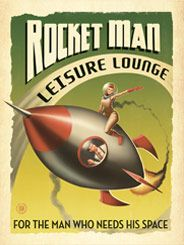 Rocket Man Leisure Lounge - This out-of-this-world print is for the Sci-Fi buff and the man who really needs his Space. Decorate with the right stuff and your Man Cave will be cooler than Mission Control.