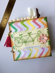 Colorful Summer Junk Journal Tandum Bike by MoonsideParlour