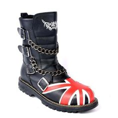 Personalized Black Cyber Punk Goth Fashion Ankle Boots w/ Chains Men SKU-1280378