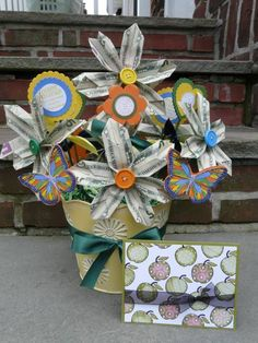 Money Flower Tree - could also be done with a Christmas theme, like the flower/button details
