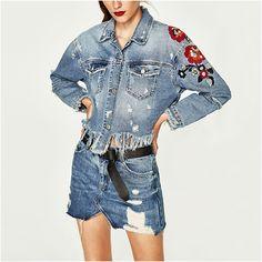 NYMPH Women Denim Jackets 2017 Spring Autumn Casual Slim Jeans Coats Long Sleeve Lapel Floral Embroidery Vintage Tassel Hem Tops #Affiliate