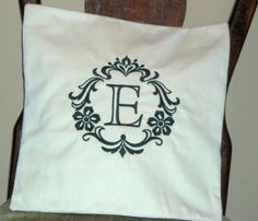 Pillow Cover Damask Initial E Pillow Cover Cotton Pillow