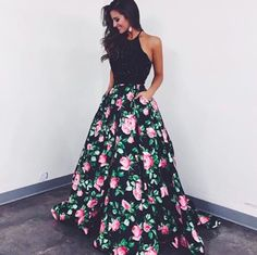 Sherri Hill two-piece floral print dress. Black and pink floral dress. Prom dress. Two-piece prom dress. Sherri Hill.