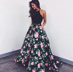 Sherri Hill two-piece floral print dress. Black and pink floral dress. Prom dress. Two-piece prom dress. Sherri Hill.