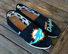 Custom Hand Painted Miami Dolphin Toms shoes by BStreetShoes, $149.00